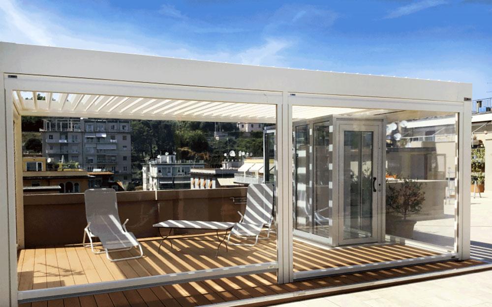 L'evoluzione del design e della tecnologia, oggi è al servizio dei tuoi spazi. Pergocasa® BioArq è la pergola bioclimatica con copertura frangisole dotata di lamelle orientabili, che fornisce la protezione ideale per gli ambienti all'aperto.